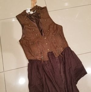 Faux Leather Vest with Removeable Layer